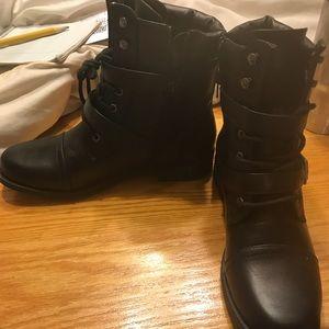 Flat black booties